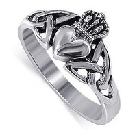 LWRS043 Nickel Free .925 Sterling Silver Irish Claddagh Friendship and Love Band Polished Finish Ring Size 4, 5, 6, 7, 8, 9, 10, 11, 12, 13: Jewelry: Amazon.com