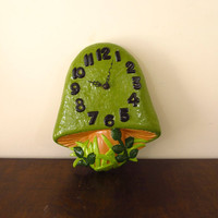 Vintage Mushroom Clock, Green Ceramic Wall Hanging, Kitsch Decor for Kitchen