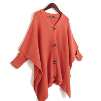 Korean Women Irregular Hem Bat Wing Sleeve Loose V Sweater Cardigan Outerwear