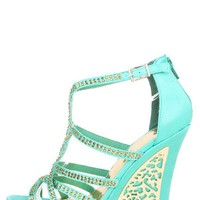 Liliana Mallika26 Seafoam Rhinestone Crisscross Metal Trim Wedges and Shop Shoes at MakeMeChic.com
