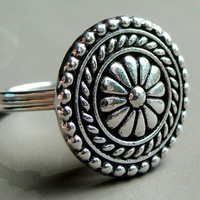 Large Silver Button Novelty Ring Wire Wrapped in Sterling Silver Statement Ring