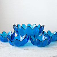 Vintage Blenko Petal Bowls - Wayne Husted, Hand Blown, Blenko 6143