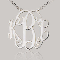 Monogram necklace  1 inch Personalized Monogram  by BPJnecklaces
