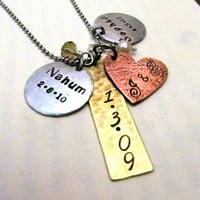 Hand Stamped Personalized Necklace  Mixed by FiredUpLadiesHammer