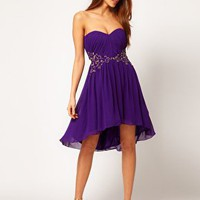 Little Mistress Beaded Waist Dip Back Bandeau Dress at asos.com