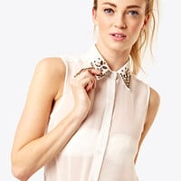Cream Diamonte Sleeveless Blouse at Fashion Union