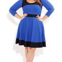 Plus Size Spliced Skater Dress - City Chic - City Chic