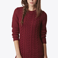 Plum Cable Front Tunic at Fashion Union
