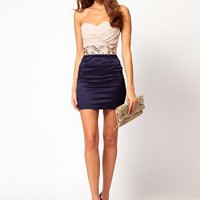 Elise Ryan Gathered Bustier Embellished Waist Dress at asos.com