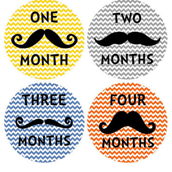 Mustache and Chevron Monthly Onesuit Stickers... Perfect Baby Shower Gift for the Trendy Couple and Baby Boy...Mustache Baby