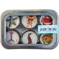Kate Grenier Designs - Bottle Cap Magnet Six Pack - Under the Sea