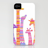 Giraffe Silhouettes in Colorful Tribal Print iPhone Case by Annya Kai | Society6