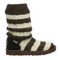 5822 Chocolate UGG Women&#x27;s Classic Tall Stripe Cable Knit Outlet UK