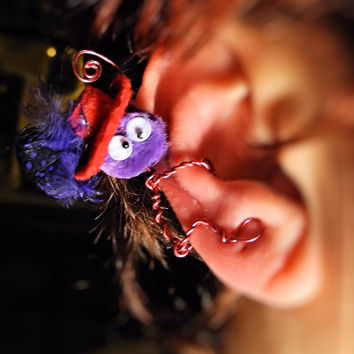 Monster Ear Cuff Red Hat Society - Handcrafted Wire Wrap Pom Pom - Martha - Unique Jewelry for a Unique You