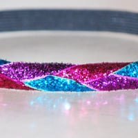Lot of 3 Braided Headbands AWESOME COLORS  Sparkle Sparkly Glitter   Softball Yoga Dance Cheer Hair by Ladybuglogic  You Pick the Colors