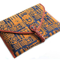 Designer Clutch bag - Suitable for iPad/design bag/handmade bag/designer bag/handbag/Purse - Flocking and Cow Leather