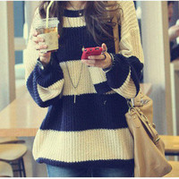 Casual Lady&#x27;s Loose Stripes Jumpers Chunky Knit Bat Wing Thick Pocket Sweater