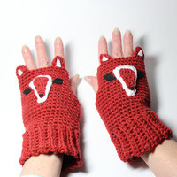 Fox fingerless gloves, animal fingerless mitts, crochet fingerless mittens.