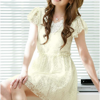 Women Fashion Graceful V Collar Lace Dresses : Wholesaleclothing4u.com