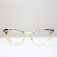 vintage glasses - 1950's bronze filigree glasses