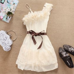 Stylish and Delicate Sweety Ruffles One-shouldered Chiffon Dress  