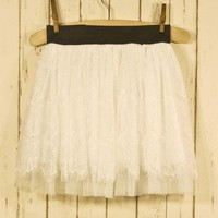 Blanc Lace Eyelashed Skirt - Retro, Indie and Unique Fashion