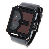 Chic Valia Camber Shaped Dial Leather Wrist Watch with Digital Rotation Indicate Time for Men - Black with Brown China Wholesale - Everbuying.com