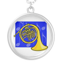 French Horn, Yellow, With Blue Notes Back Custom Necklace from Zazzle.com