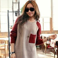 Color Block Pullover in Cream D13 from Fashion Accessories Store