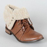 Norah-02 Shearling Cuff Military Ankle Bootie