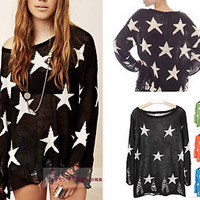 Slouchy Two Layer Knit Loose Round Neck Star Ripped Sweater Top M #TKT-Green