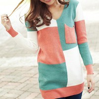 Contrast Color Single Pocket V Neck Knit Sweater