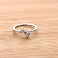tiny RIBBON ring with crystals, in silver | girlsluv.it