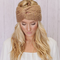 Golden Caramel Knitted Turband Headband Ear Warmer Twist Style Wide Headband (HBK2-05)