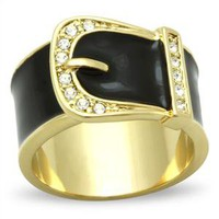 Ion Gold Plated Black Enamel Belt Ring