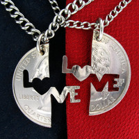 Love Me Interlocking Quarter, hand cut coin