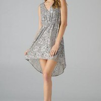 Silver Sleeveless Lace Hi-Lo Dress
