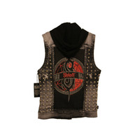 Slipknot Studded Black and White Acid Wash Demin Vest, Pulse Of The Maggot