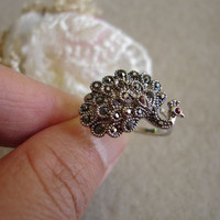 Smoky Crystal Peacock Ring by Angeltodora98 on Etsy
