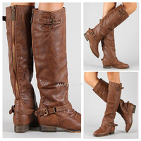 TAN Riding Boots Back Zi...