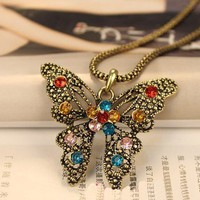 Vintage Butterfly Long Chain Pendant Necklace at Online Cheap Vintage Jewelry Store Gofavor