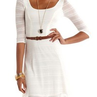 Belted Sweater Knit Skater Dress: Charlotte Russe