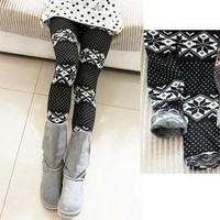 Black Acrylic Warm Leggings big white Snow spots pattern Inner Brushing finish~