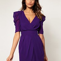 ASOS | ASOS Cross Over Tulip Dress with Ruched Sleeves at ASOS