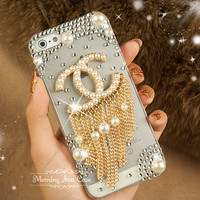 iPhone 5 Case - Bling iPhone 5 Case, Crystal iPhone 5 Case, iPhone 5 Cover, Bling iPhone case, Pearl Chanel iPhone 5 Case