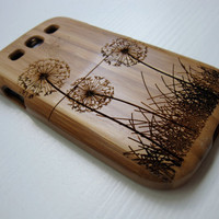 Samsung Galaxy S3  case - wooden cases walnut / cherry or bamboo -  Dandelion