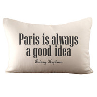 Paris is always a good idea - Hemp &amp; Organic Cotton Cushion Cover - 12x18