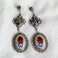 Vintage Sterling Filigree Rose Mosaic Earrings, Artisan Upcycled