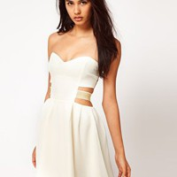 Paprika Chiffon Bandeau Dress with Lurex Straps at asos.com