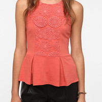 Urban Outfitters - Staring at Stars Crochet Inset Peplum Tank Top